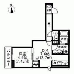 仮称)下連雀8丁目新築アパート 2階1DKの間取り
