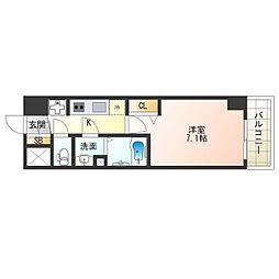 阪神なんば線 九条駅 徒歩4分の賃貸マンション 14階1Kの間取り