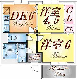 グレイスハイツ東須磨[2階]の間取り