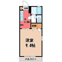 栃木県宇都宮市簗瀬3丁目の賃貸アパートの間取り