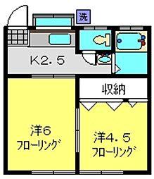 増山ハイツ[202号室]の間取り