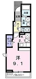JR東海道本線 辻堂駅 徒歩15分の賃貸アパート 1階1Kの間取り