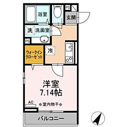 (仮)D-room相模大野5丁目 3階1Kの間取り