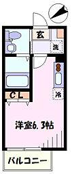 東急東横線 日吉駅 徒歩11分の賃貸アパート 3階ワンルームの間取り