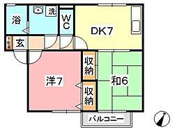 サンハイム撫川 B[2階]の間取り
