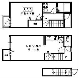 カーサ恵比寿 壱番館 2階1LDKの間取り