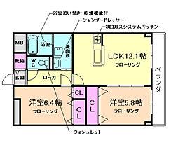 大阪府豊中市永楽荘2丁目の賃貸マンションの間取り