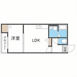 メゾンクレール博多南弐番館 3階1LDKの間取り