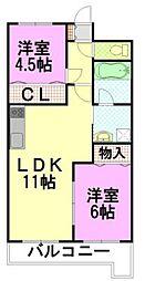 クローバーマンション若宮(502)[502号室]の間取り