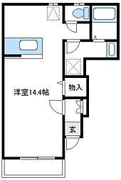 JR横浜線 橋本駅 徒歩16分の賃貸アパート 1階ワンルームの間取り