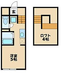 JR横浜線 片倉駅 徒歩9分の賃貸アパート 2階ワンルームの間取り