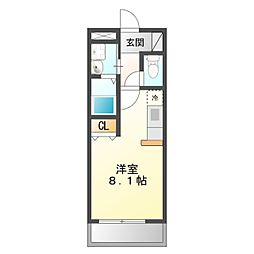 JR東海道本線 豊橋駅 バス26分 天伯下車 徒歩1分の賃貸アパート 1階ワンルームの間取り