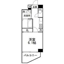 京成本線 京成津田沼駅 徒歩4分の賃貸マンション 5階1Kの間取り