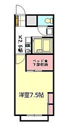 東武東上線 鶴瀬駅 徒歩25分の賃貸アパート 2階1Kの間取り
