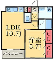JR総武線 千葉駅 バス13分 かわまち矢作モール下車 徒歩1分の賃貸マンション 2階1LDKの間取り