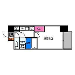 エスリード京橋グレイス 9階1Kの間取り