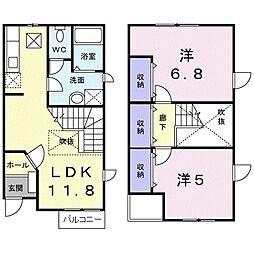 埼玉県三郷市彦沢1丁目の賃貸アパートの間取り