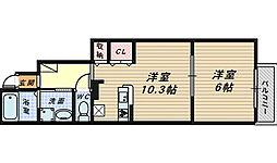 大阪府堺市南区釜室の賃貸アパートの間取り
