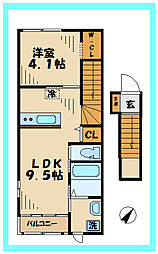 JR南武線 稲田堤駅 徒歩7分の賃貸アパート 2階1LDKの間取り