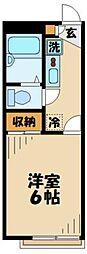 京王相模原線 稲城駅 徒歩13分の賃貸アパート 1階1Kの間取り