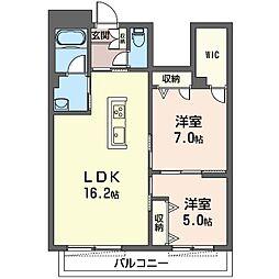 プリムヴェールさいたま新都心 1階2LDKの間取り