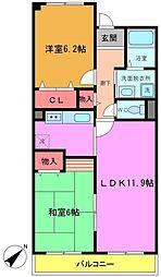 千葉県船橋市前貝塚町の賃貸マンションの間取り