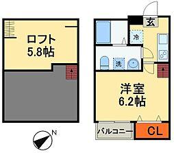 JR総武本線 都賀駅 徒歩5分の賃貸アパート 2階1Kの間取り