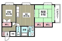 パルシオン富士見[2階]の間取り