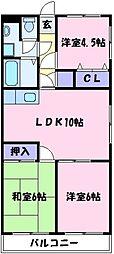 南埜マンション赤塚[2階]の間取り