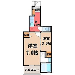 東武宇都宮線 江曽島駅 バス5分 緑2丁目下車 徒歩9分の賃貸アパート 1階1Kの間取り