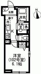 京王線 下高井戸駅 徒歩4分の賃貸マンション 1階1Kの間取り