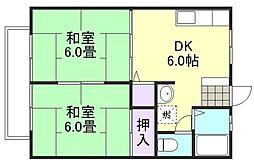 オリエントハイツ 2階2DKの間取り
