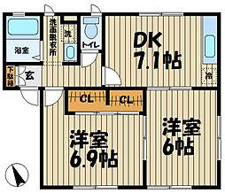 鎌倉ハウス弐番館[102号室]の間取り