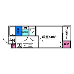 JR阪和線 杉本町駅 徒歩10分の賃貸マンション 2階1Kの間取り