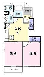 JR川越線 南古谷駅 徒歩12分の賃貸アパート 1階2DKの間取り