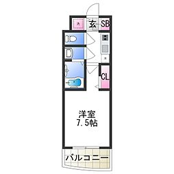 セレニテ日本橋プリエ 9階1Kの間取り