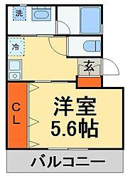 JR総武線 下総中山駅 徒歩3分の賃貸アパート 2階1Kの間取り