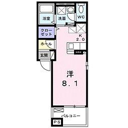 JR東海道本線 豊橋駅 徒歩13分の賃貸アパート 2階1Kの間取り