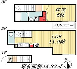 JR総武線 市川駅 徒歩7分の賃貸マンション 2階1LDKの間取り