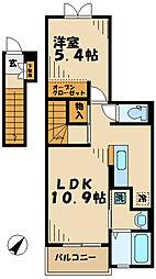 東京都多摩市南野2丁目の賃貸アパートの間取り