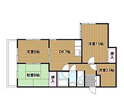 神奈川県横浜市南区共進町3丁目の賃貸マンションの間取り