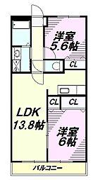 JR五日市線 秋川駅 徒歩7分の賃貸マンション 1階2LDKの間取り
