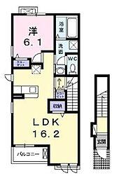 横浜市営地下鉄グリーンライン 中山駅 徒歩26分の賃貸アパート 2階1LDKの間取り