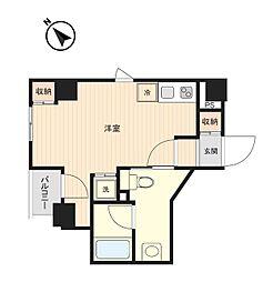 東京メトロ有楽町線 月島駅 徒歩3分の賃貸マンション 4階ワンルームの間取り