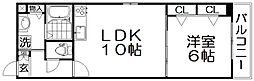 プロムナードX 1階1LDKの間取り