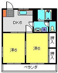 神奈川県横浜市港北区日吉6丁目の賃貸マンションの間取り