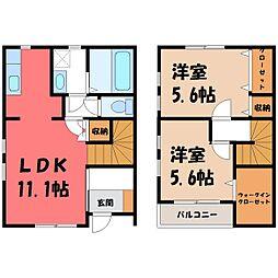 [一戸建] 栃木県小山市乙女2丁目 の賃貸【/】の間取り