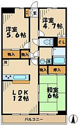 東京都八王子市鑓水2丁目の賃貸マンションの間取り