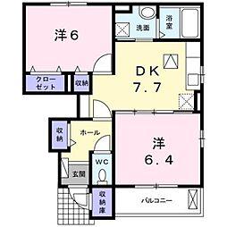 上野原アパート 1階2DKの間取り