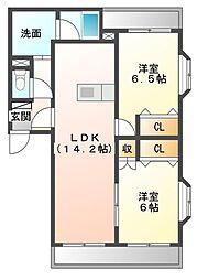 花本丸太コーポI[2階]の間取り